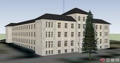 四层办公楼建筑设计SU机械世界大学的模型设计制造及其自动化图片