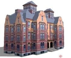 四层办公楼建筑设计SU楼房100装修设计模型平图片
