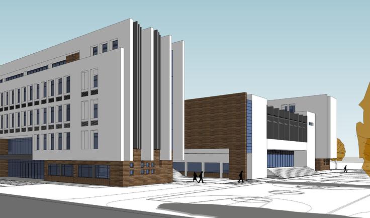 现代风格学校教学楼建筑方案sketchup模型图片