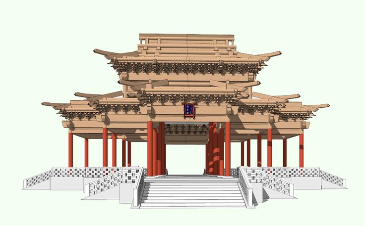 中式古建殿堂梁框架结构sketchup模型图片