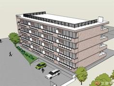某地四层办公楼建筑设计su模型岛积分v模型图片