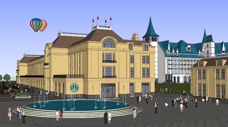 欧式建筑儿童主题乐园sketchup模型
