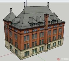 四层办公楼建筑设计SU模型用matlab绘制3维圆柱图片