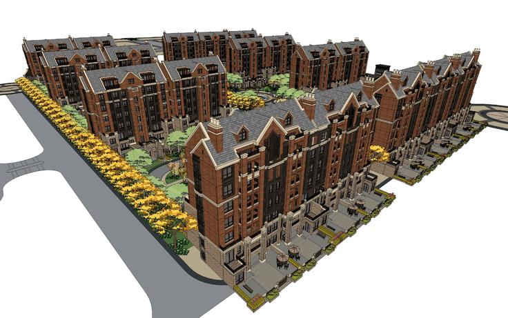 欧式古典风格多层住宅小区sketchup模型