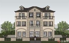 四层中式模型双拼建筑设计SU别墅儿保室布置图片