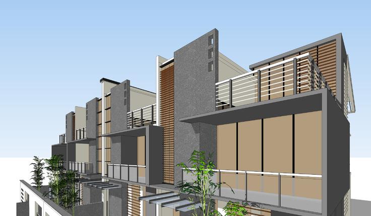 中式古典元素聯排別墅方案sketchup模型