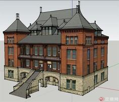 四层办公楼建筑设计SU模型proe橡胶怎么剖面绘制线图片