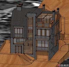 一栋四层模型建筑设计SU牛奶别墅同构共生的设计图图片