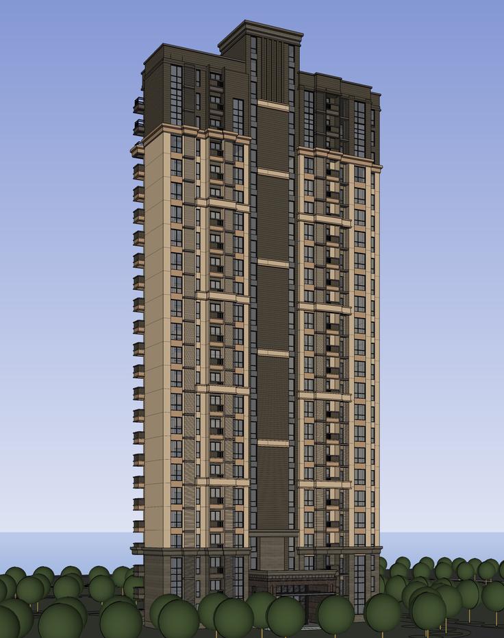 欧式新古典风格高层住宅区sketchup模型