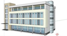 某现代三层办公楼建筑su模型深圳公司设计装修店铺图片