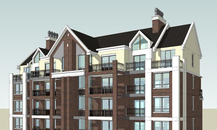 欧式新古典风格小高层住宅楼sketchup模型