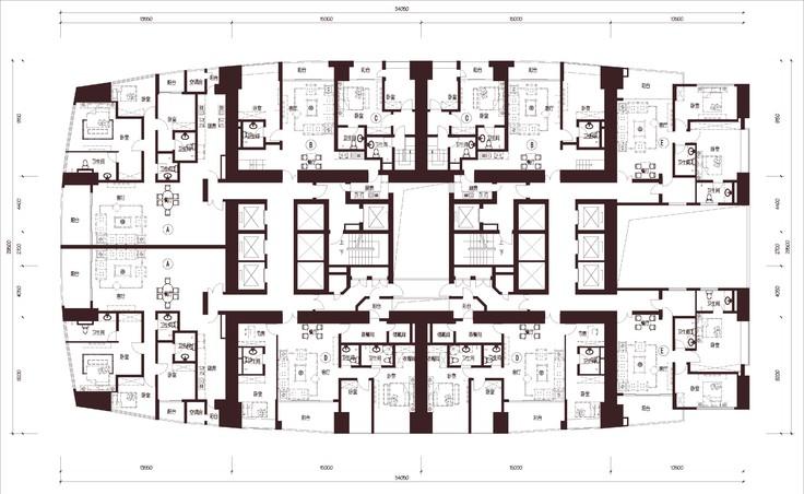 深圳 东海国际公寓 1梯10户 超高层 户型