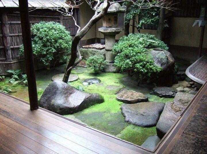 日式置石苔藓庭院景观设计