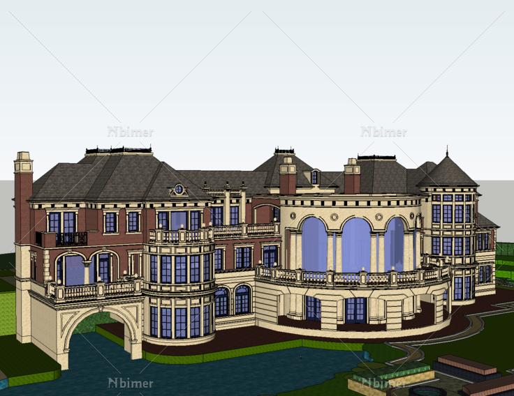 欧式风格滨水会所sketchup模型