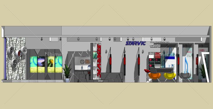 汽车油漆展厅室内设计sketchup模型