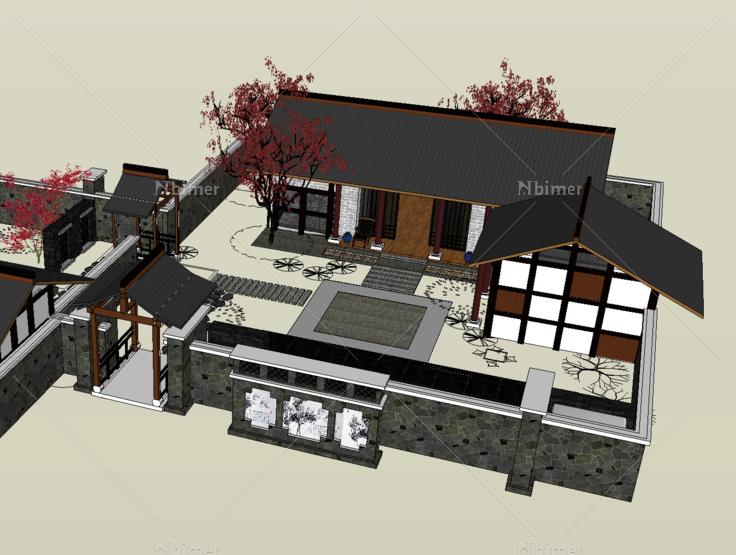 其他  场景模型,中式风格,仿古,古建筑,川式建筑,庭院,sketchup模型