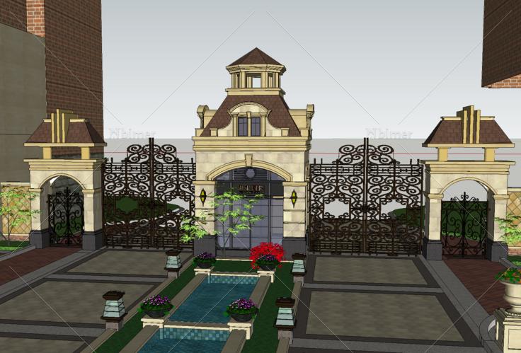 欧式风格住宅小区入口大门sketchup模型