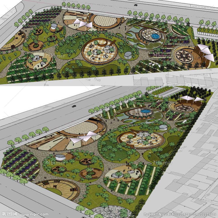 广场草图模型 广场景观模型,草图大师健身休闲广场设计素材,昵图网