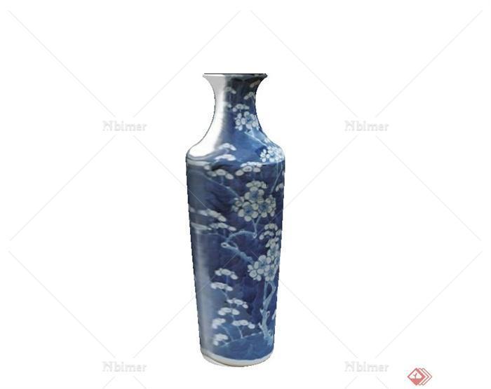 古典中式青花瓷瓶子设计su模型