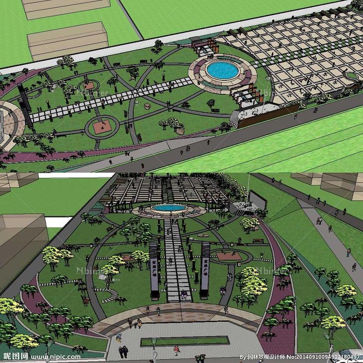 广场草图模型 广场景观模型,草图大师长方形休闲广场设计素材,昵图网