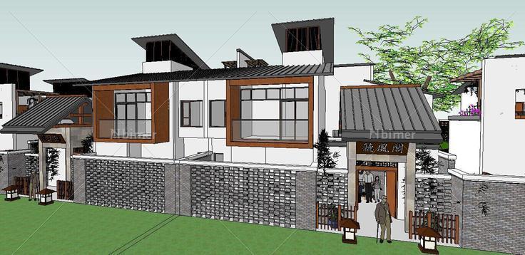 新中式合院别墅(82423)su模型下载图片