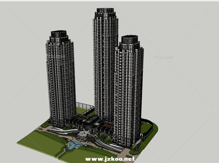 欧式高层住宅大都会 - sketchup模型库 - 毕马汇 nb