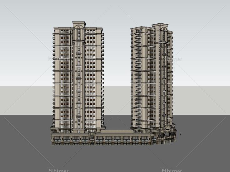 产品住宅+裙楼底商,西式风格,27层高层包装设计v产品案例分析图片