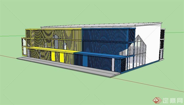 现代三层集装箱厂房建筑设计su模型[原创]