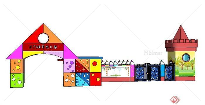 某幼儿园大门设计su模型[原创]