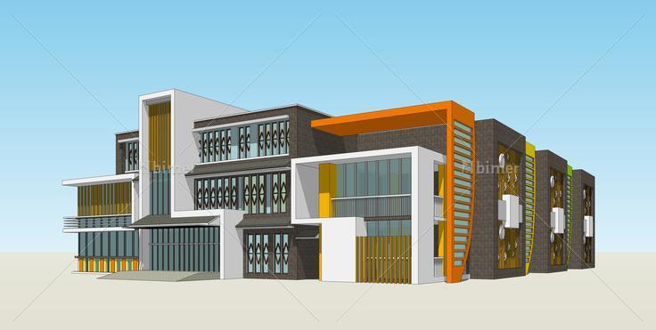 现代创意幼儿园建筑设计方案 sketchup模型