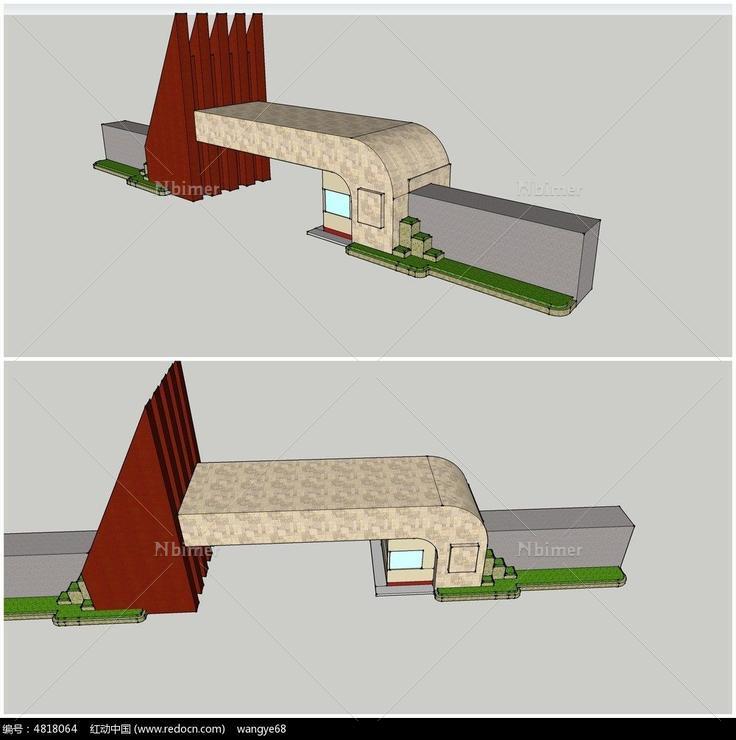 个性创意三角形学校大门su模型图片