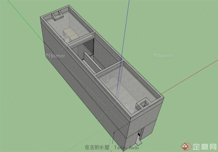 安藤忠住吉的长屋住宅建筑设计su模型