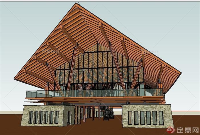 泰式风格展览中心建筑设计su模型[原创]图片