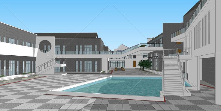 新中式风格旧厂房改造商业街sketchup模型图片