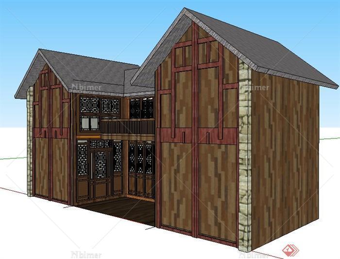 现代中式二层民房建筑设计su模型