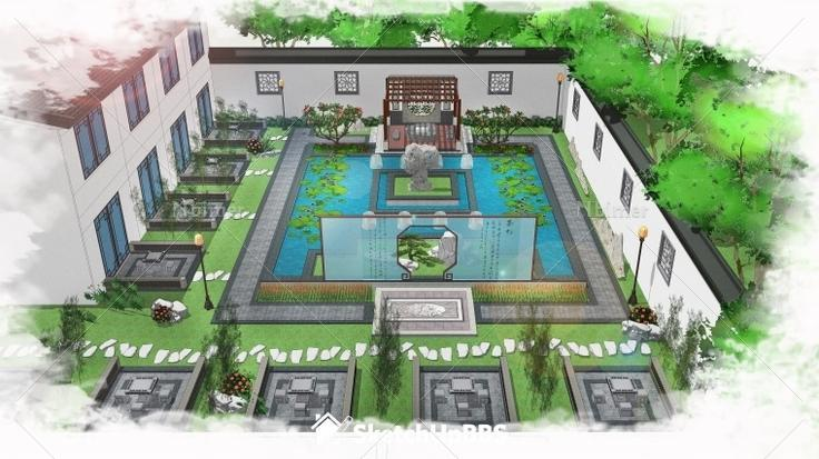 分享一个中式园林大院子的设计方案带sketchup模