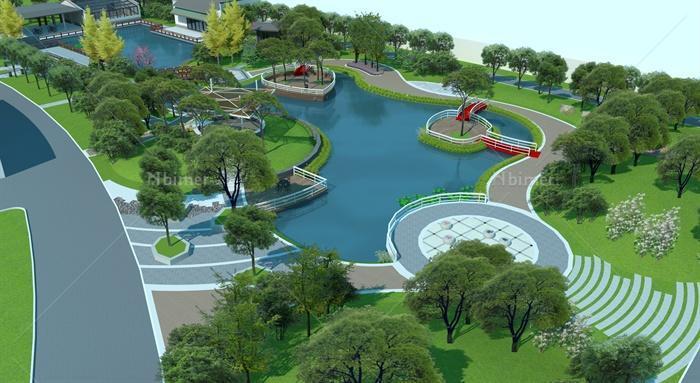 校园生态游园景观规划设计su模型[原创]