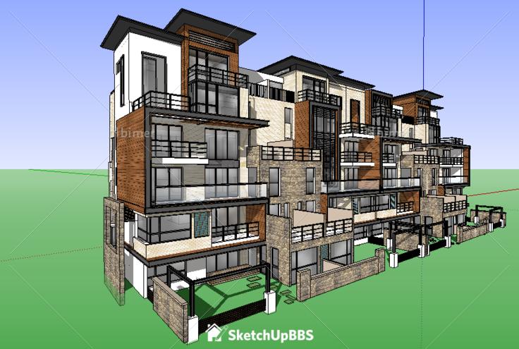 精细漂亮的别墅建筑设计方案提供sketchup模型下