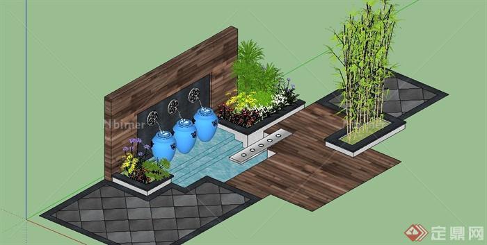 园林景观节点景墙跌水设计su模型