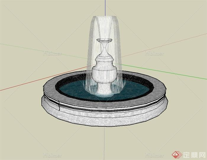 现代风格圆形喷泉水池景观设计su模型[原创]