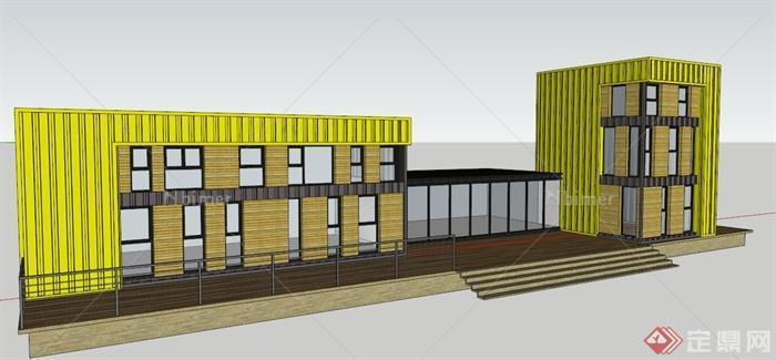 现代集装箱式展览馆建筑设计su模型