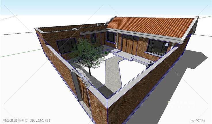 农村砖房院子平房建筑su模型