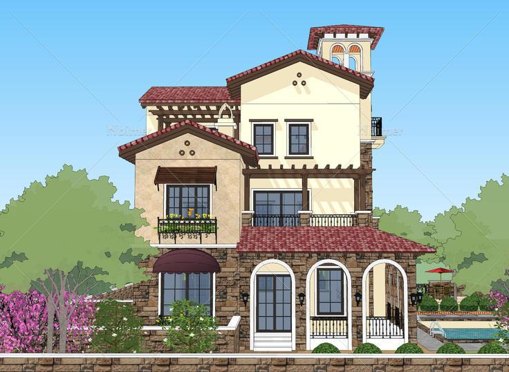 西班牙托斯卡纳风格独栋别墅院落sketchup模型