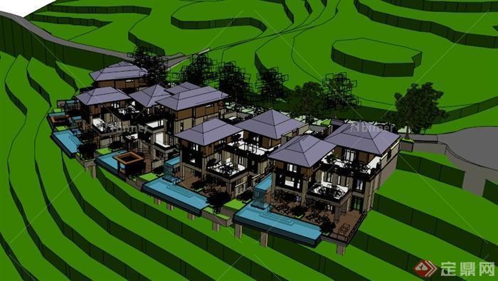 东南亚模型别墅v模型风格su坡地[原创]的钱清别墅图片