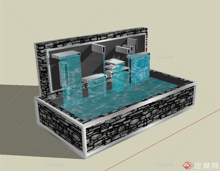 某现代风格跌水池景观设计su模型[原创]图片
