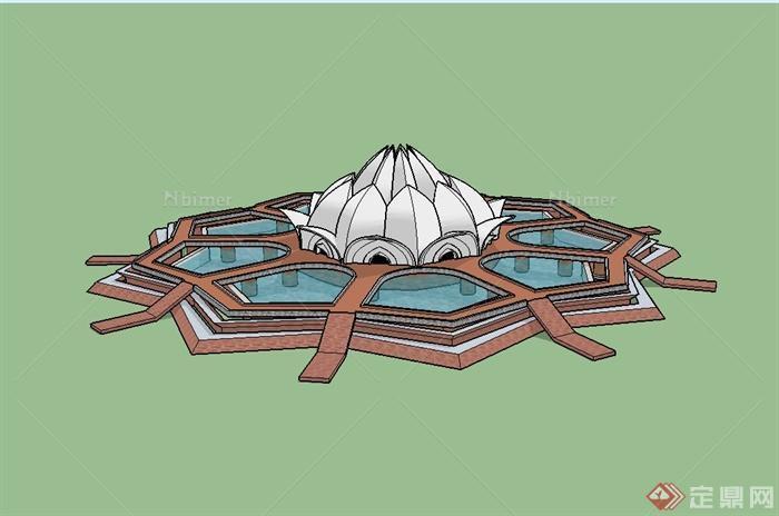 某现代风格莲花小品水池水景设计su模型[原创]图片