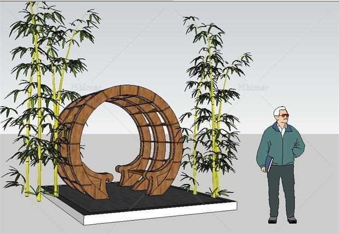 新中式圆形木廊架su精致设计模型[原创]