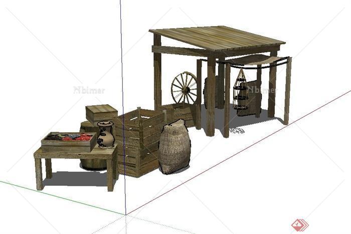 中式木质售卖廊架与摊位设计su模型图片