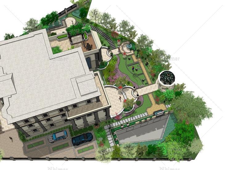 风格别墅,现代主义别墅日式庭院园林图片