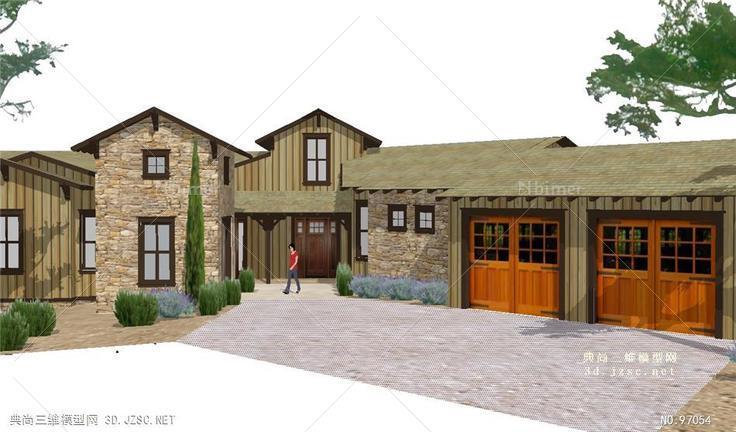 歐式鄉村農村建筑房子su模型